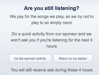 Still Listening? message from pandora.com